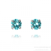 Caroline Svedbom - Classic Stud Earrings / Light Turquoise Rhodiumpläterat