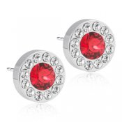 Blomdahl - ST Brilliance Halo 8 mm, Crystal/Scarlet