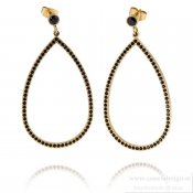 INGNELL JEWELLERY - Carrie Earrings Gold/Black Cz
