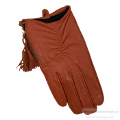 Just d´lux - Gloves Leather W. Zipper Cognac