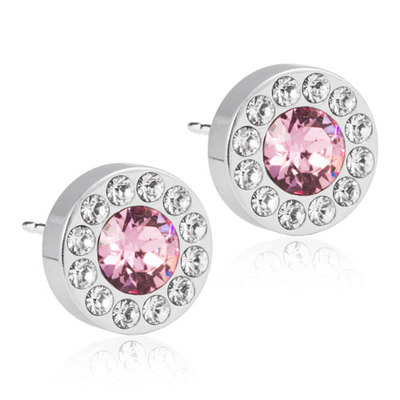 Blomdahl - Örhängen Brilliance Halo Crystal/Light Rose, 8 mm