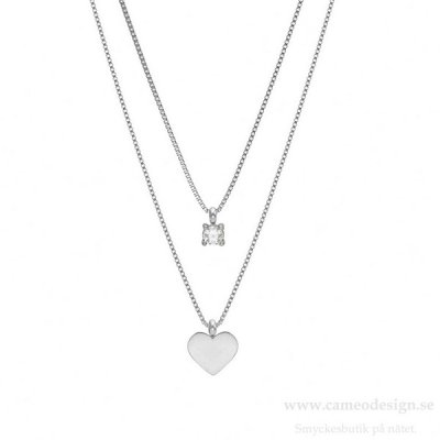 BUD TO ROSE - Ice Heart Duo Necklace Steel