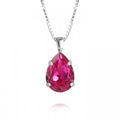 Caroline Svedbom - Mini Drop Necklace / Fuchsia Silver