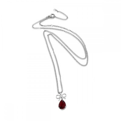INGNELL JEWELLERY - Molly Necklace Long Steel/Red