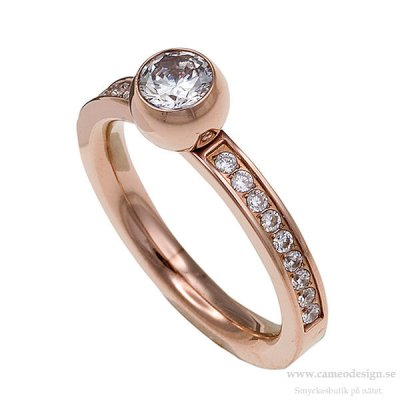 INGNELL JEWELLERY - LINA CENTRE STONE RING ROSE GOLD