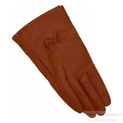 Just d´lux - Gloves Leather Bowtie Cognac