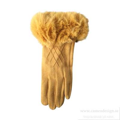 Just d´lux - Gloves With Fake Fur Senapsgul